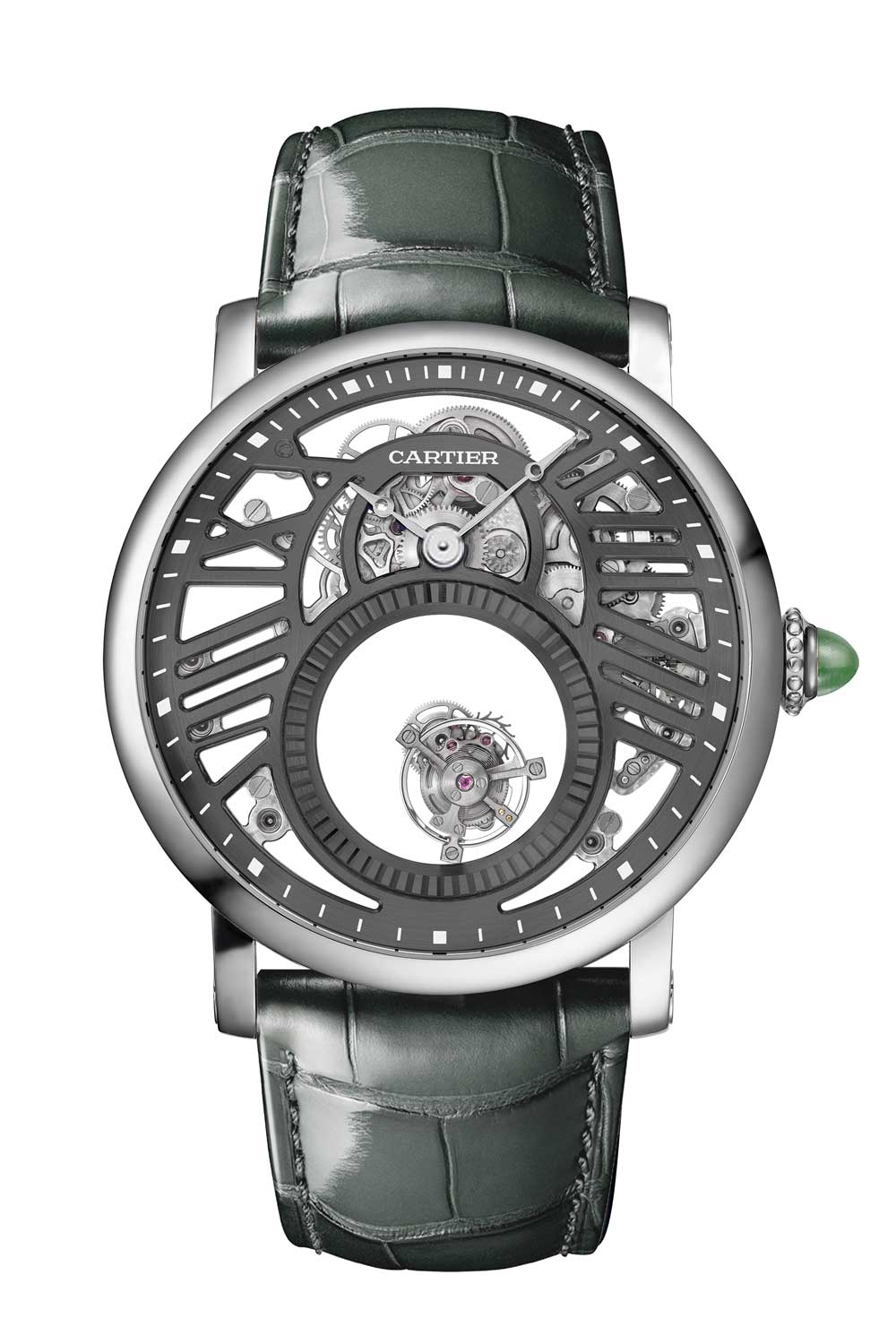 The Rotonde de Cartier Skeleton Mysterious Double Tourbillon has a flying tourbillon rotating once on its own axis every minute and then every five minutes on a second axis where it seems to travel around the perimeter of the large open circle