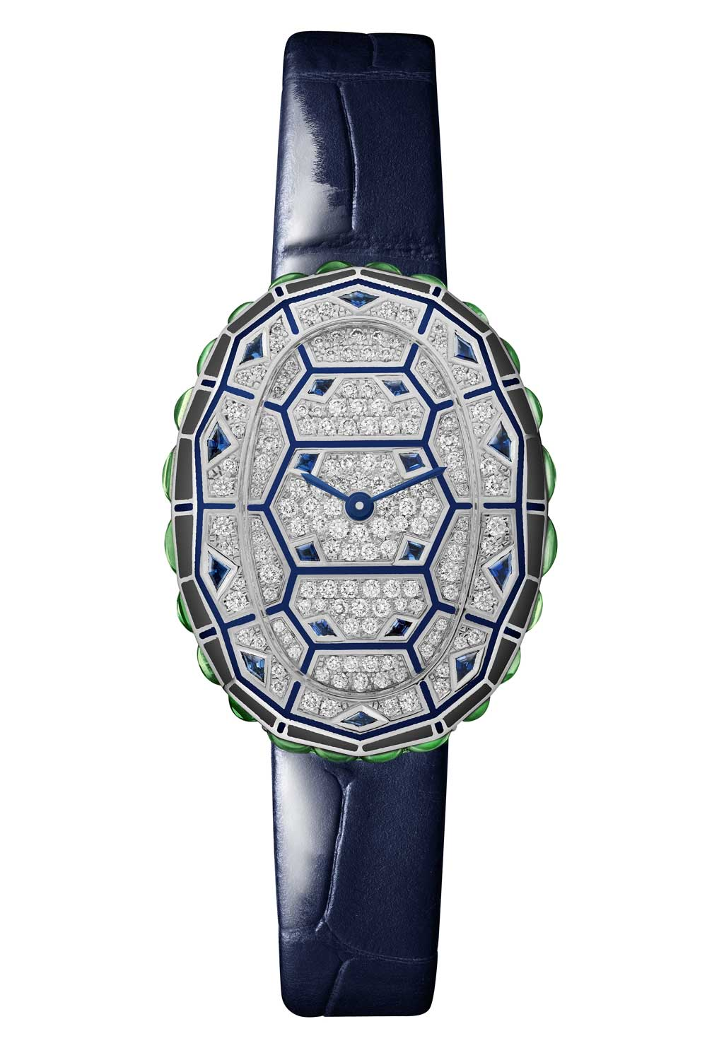A limited edition of 50 individually numbered watches, the new Baignoire has a tortoise-inspired decor. The watch uses a geometric scale motif composed of black and anthracite lines, diamond paving and buff-top tsavorites and sapphires