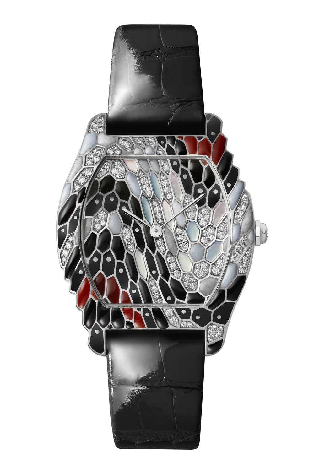 The Tortue watch gets a snake decoration this year with black and coral-colored enamel, mother of pearl, drops of polished gold and closed-set diamonds.