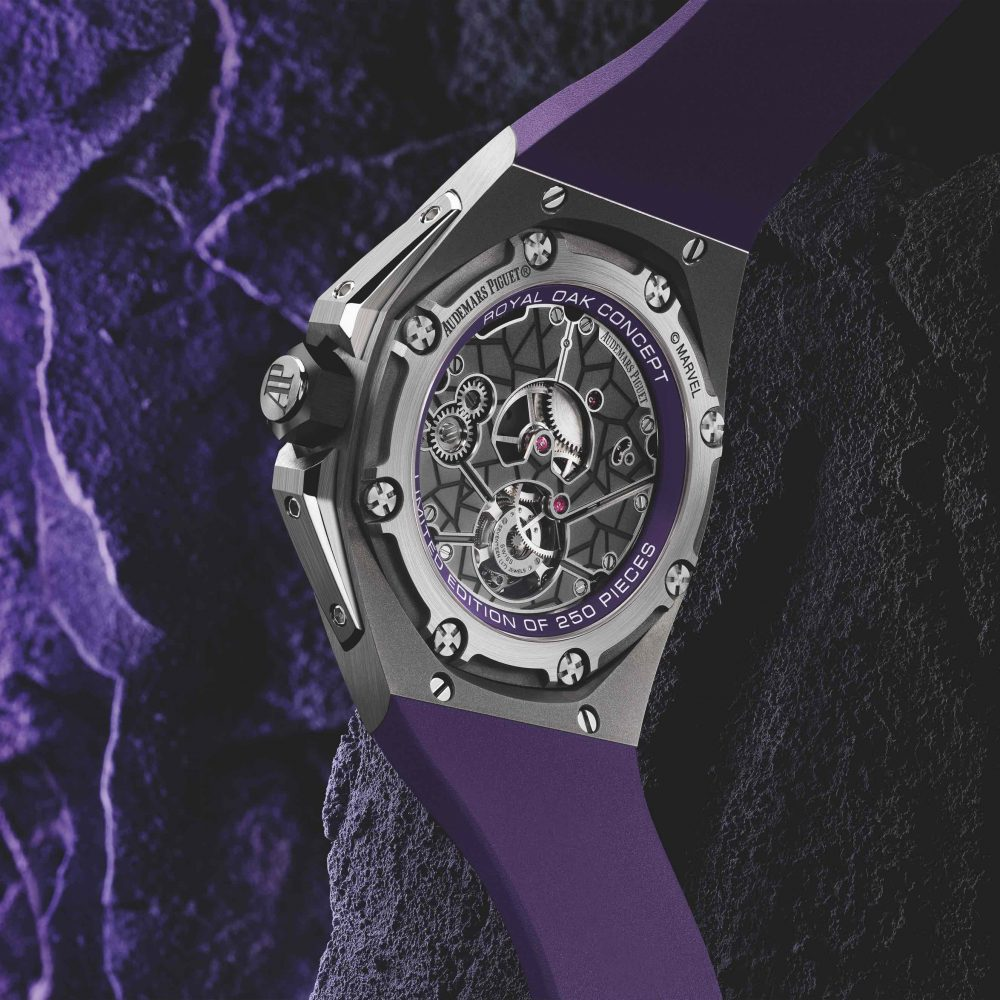 """Aside from the purple details, some """"Wakandan"""" graphic elements adorn the back side of the movement, cal. 2965."""