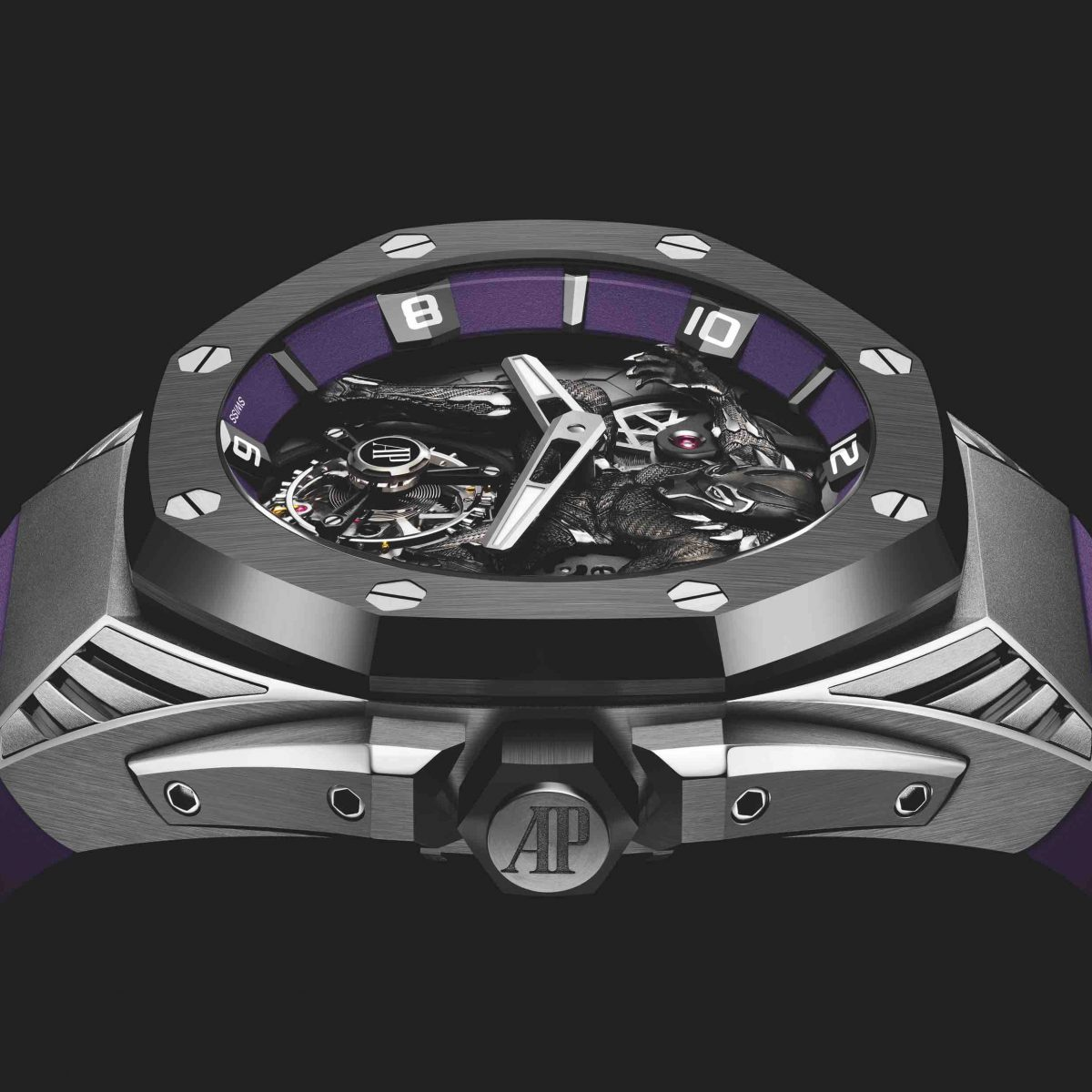 The Royal Oak Concept titanium case adds some technical looking details, such as the crown protectors and the grooved lugs.