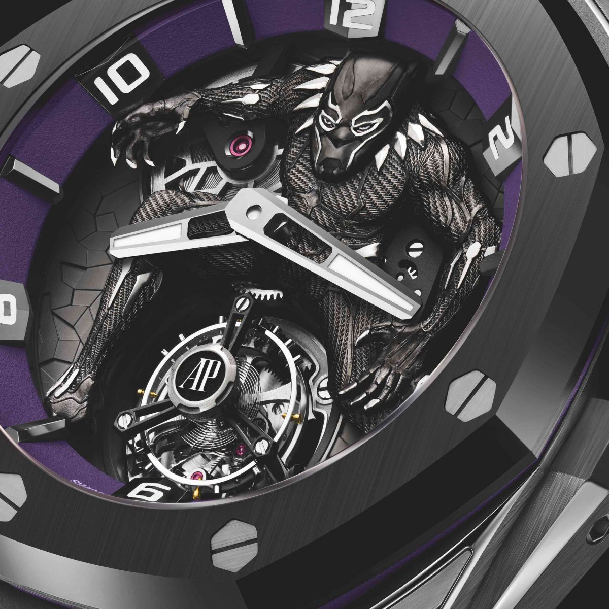 The RO Concept Black Panther is powered by the manual-wind cal. 2965, regulated by its flying tourbillon at 6 o'clock.