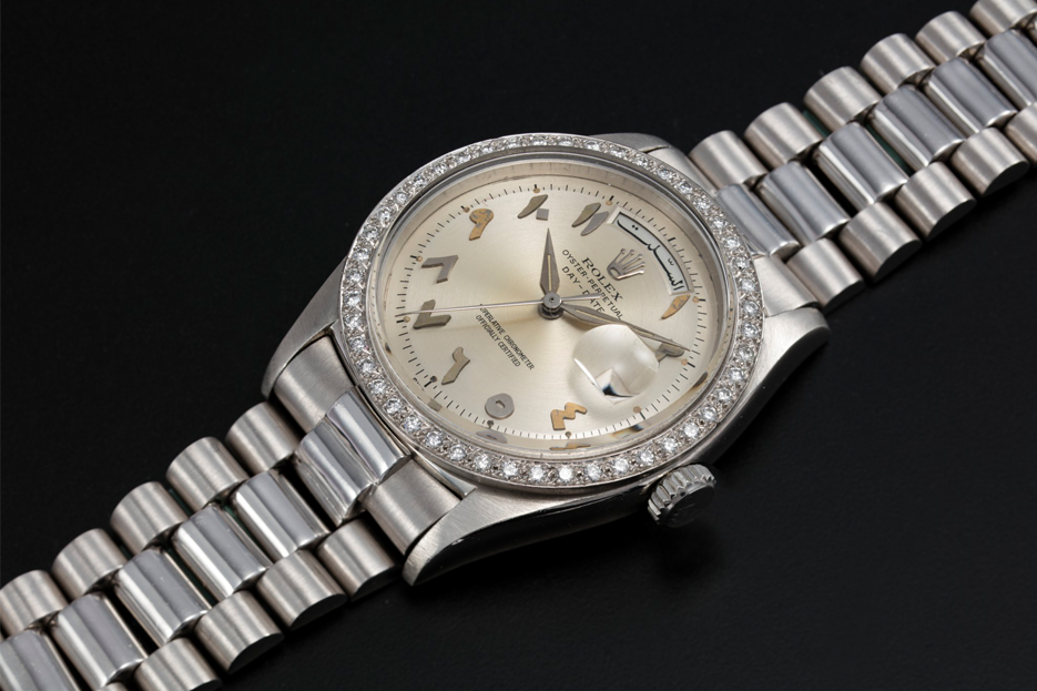 A Rolex Day-Date ref 1804 models with eastern Arabic numerals on offer at the Christie's Dubai Edit online auction this month.