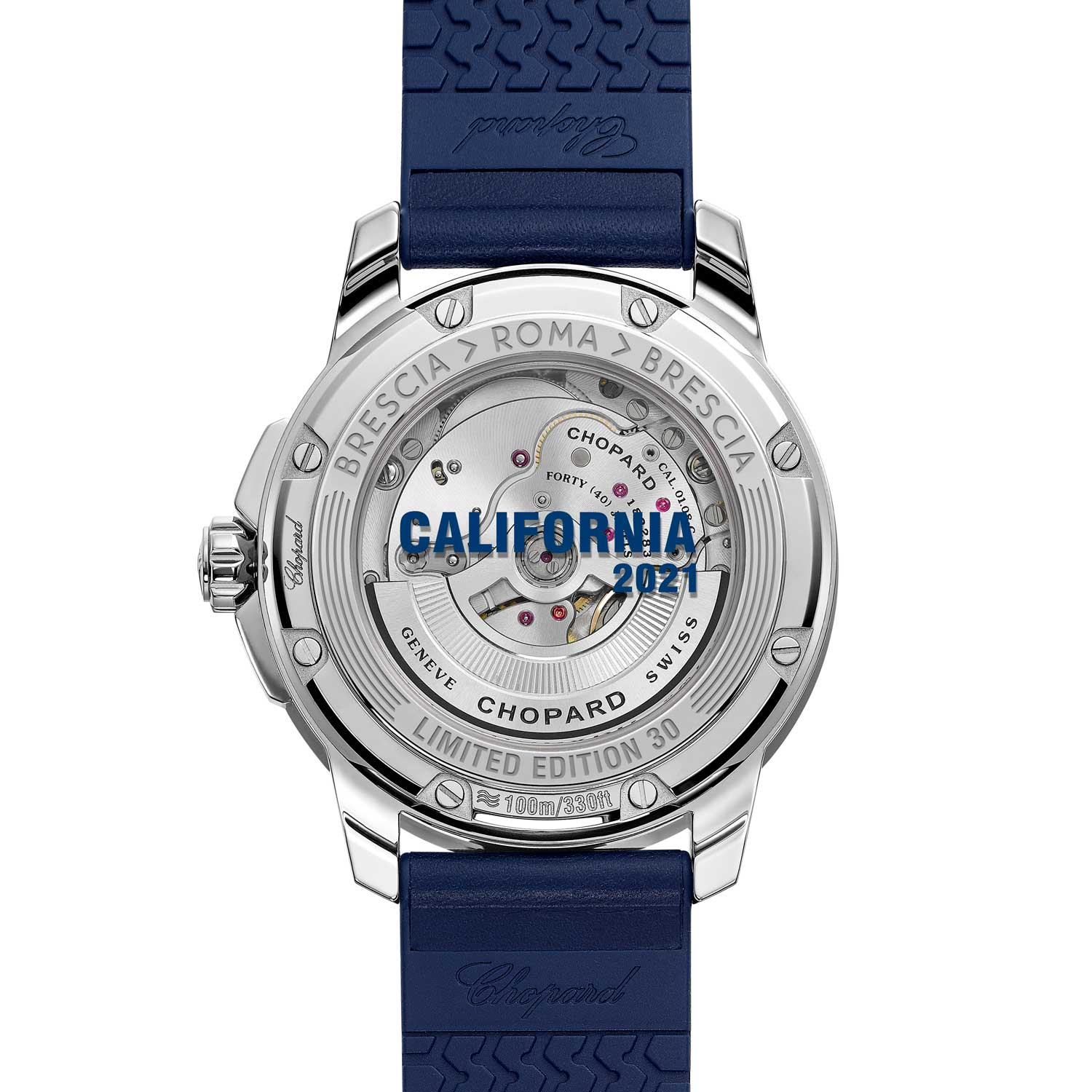 """The watch has """"Limited Edition 30"""" and """"Brescia-Roma-Brescia"""" engraved on the caseback and """"California 2021"""" in blue printed directly on the sapphire crystal."""