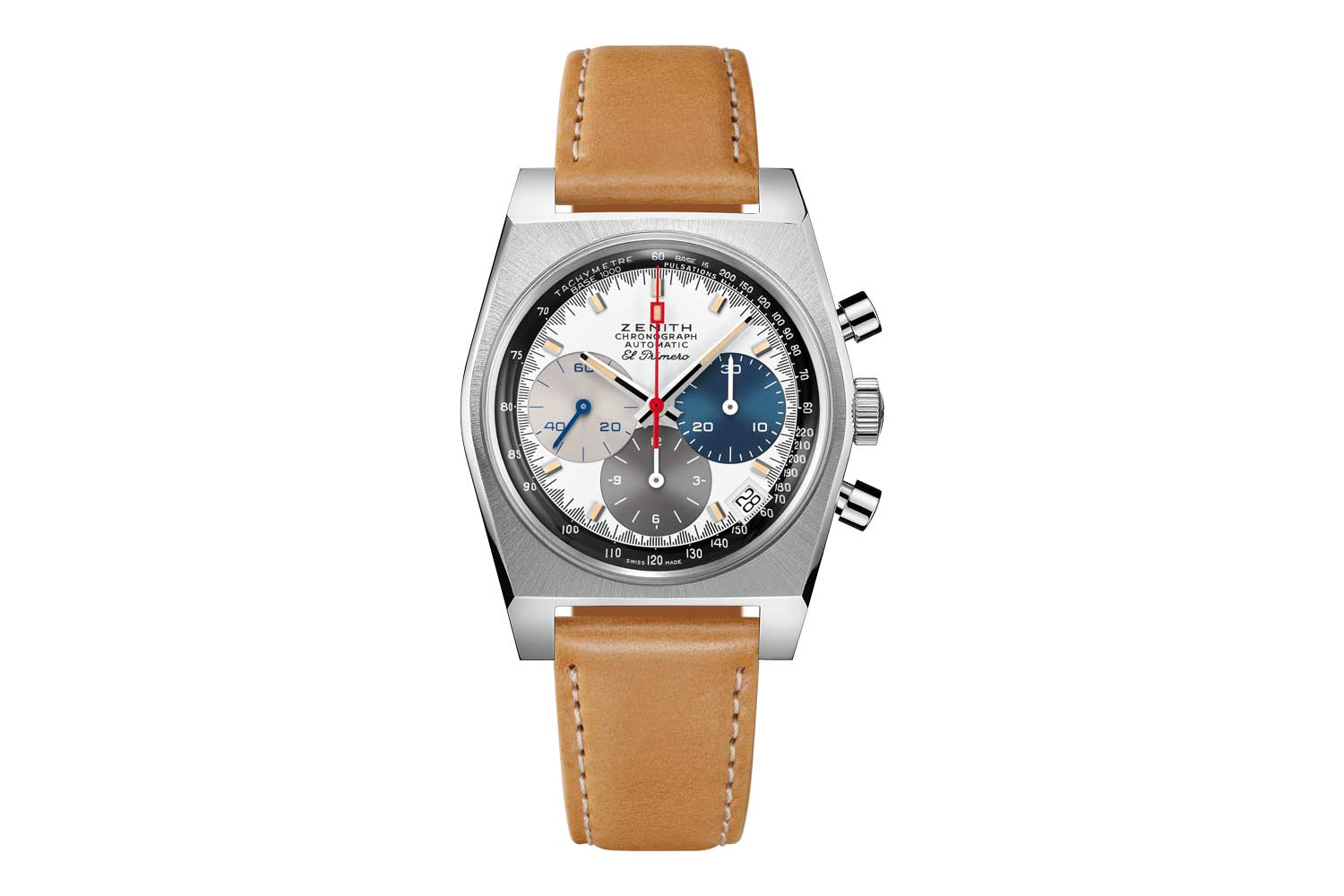 The 2021 Zenith Chronomaster Revival A3817 seen here fitted on a a light brown calfskin leather strap with protective rubber lining and stainless steel pin buckle