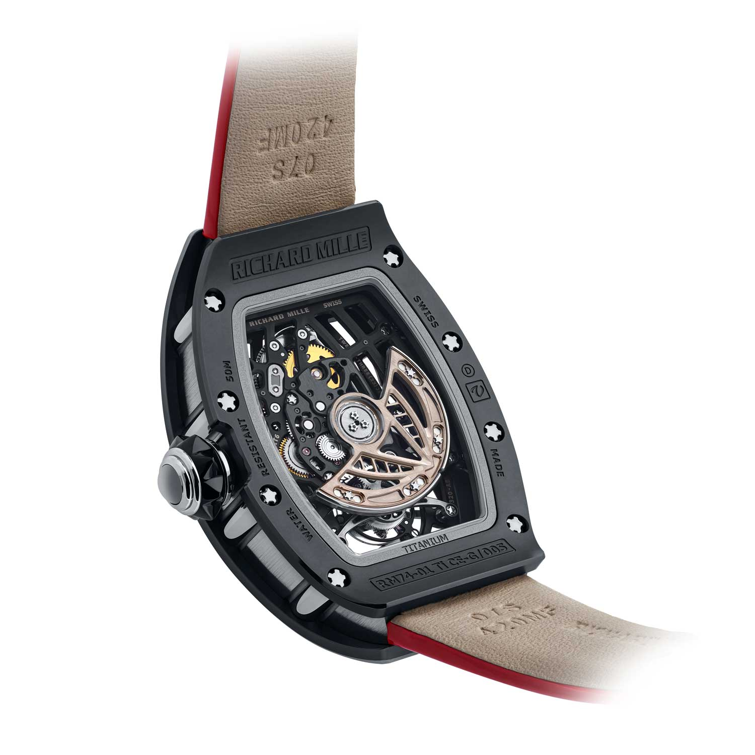 The watch is powered by in-house calibre CRMT6