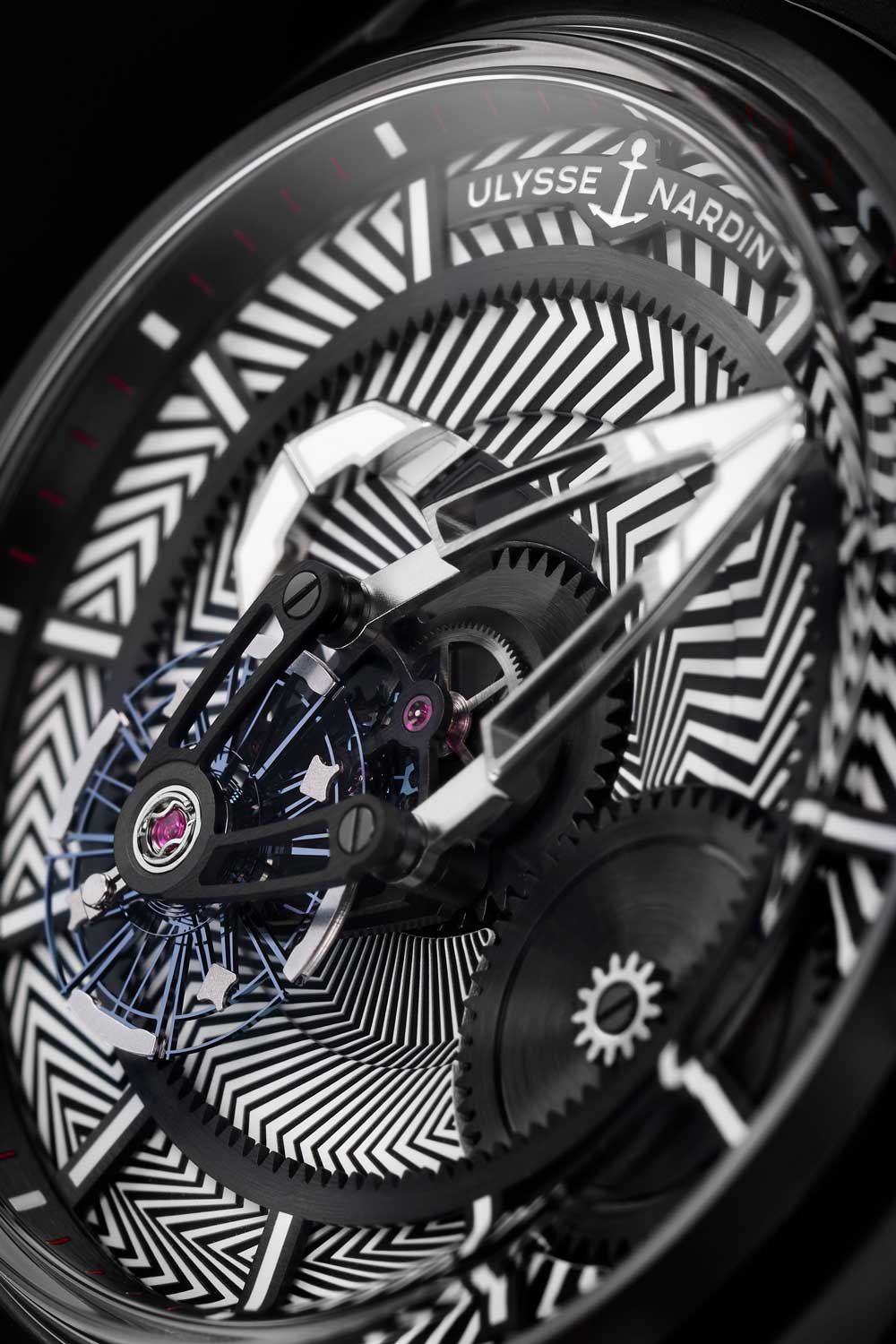 """The avant-garde """"razzle dazzle"""" tapisserie in the new Freak X highlights the watch's edgy carousel movement"""