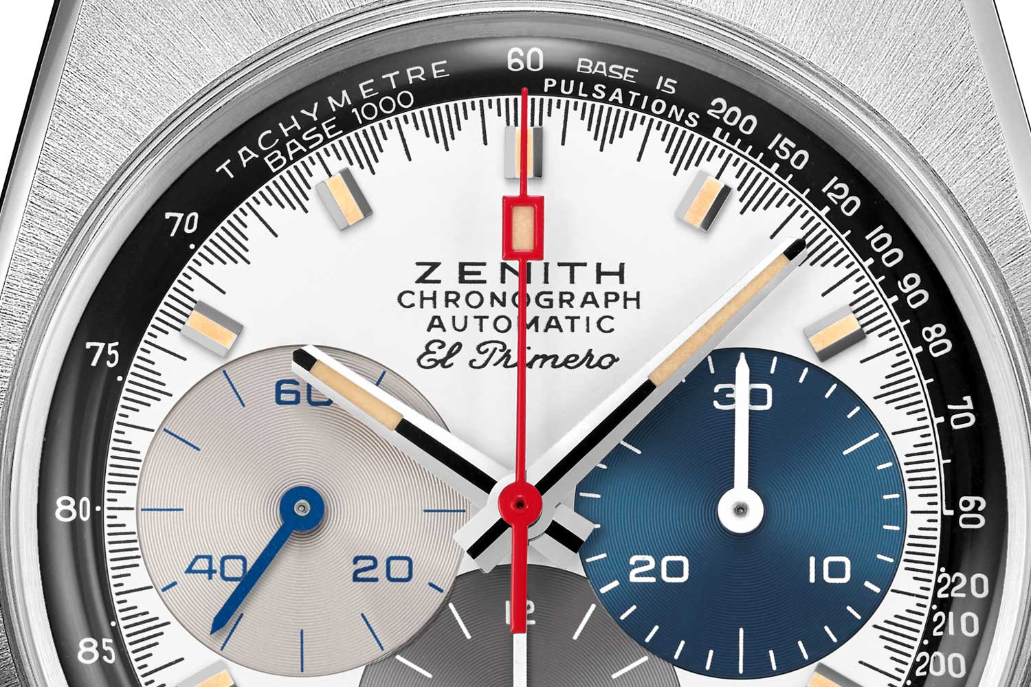 """Chronograph scale markings on the A3817 take on a """"shark tooth"""" form, totalling 300 white lines; along with the space between each marking, there are 600 divisions on the chronograph scale, which is line with the El Primero chronograph's ability to measure time to 1/10th of a second; the scale itself makes up for an unusual combination of a pulsation and tachymeter scale"""