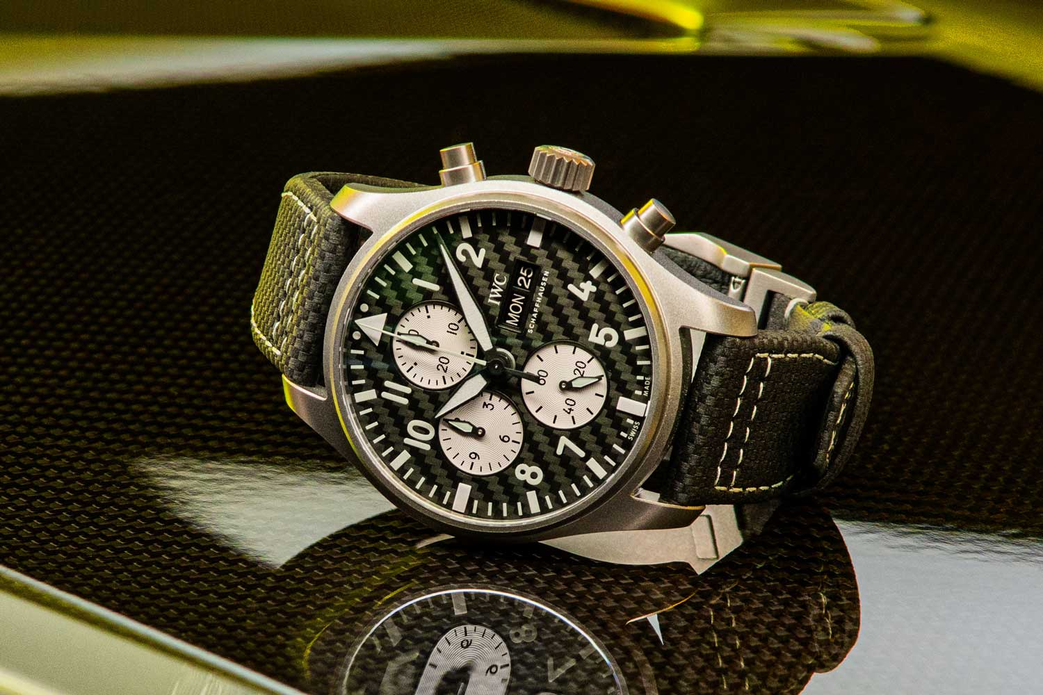 This is IWC's first 43mm Pilot's chronograph watch with a case in grade 5 titanium finish