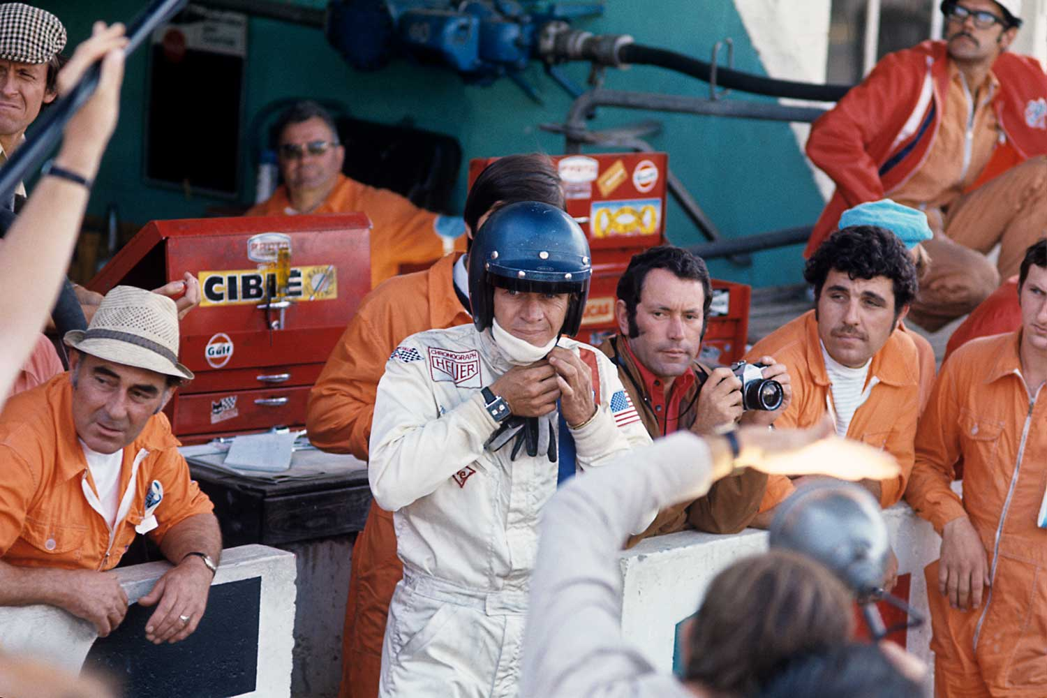 Steve McQueen styled like Joseph Siffert for the Le Mans movie, with a Monaco 1133 B on his wrist (Image: Bernard Cahier)