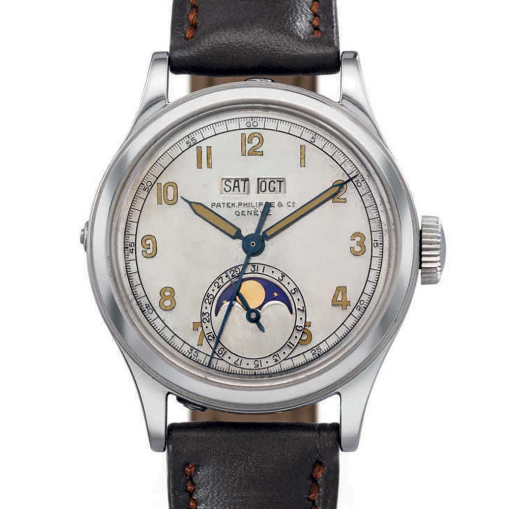 Reference 1591: A centre sweep-seconds waterproof perpetual calendar wristwatch made in 1944