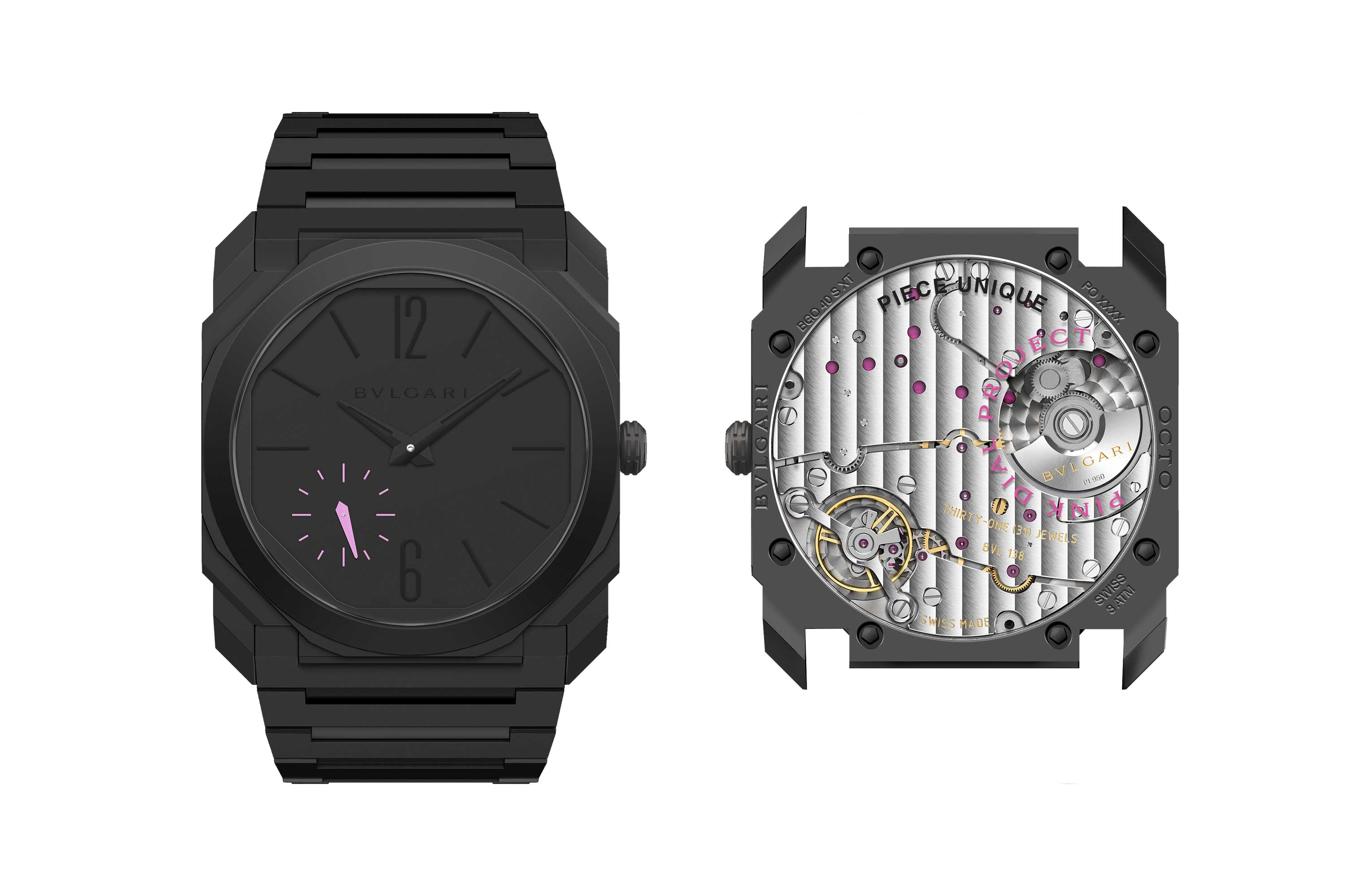 Bvlgari Octo Finissimo Automatic pièce unique in black ceramic with pink small seconds track and hand