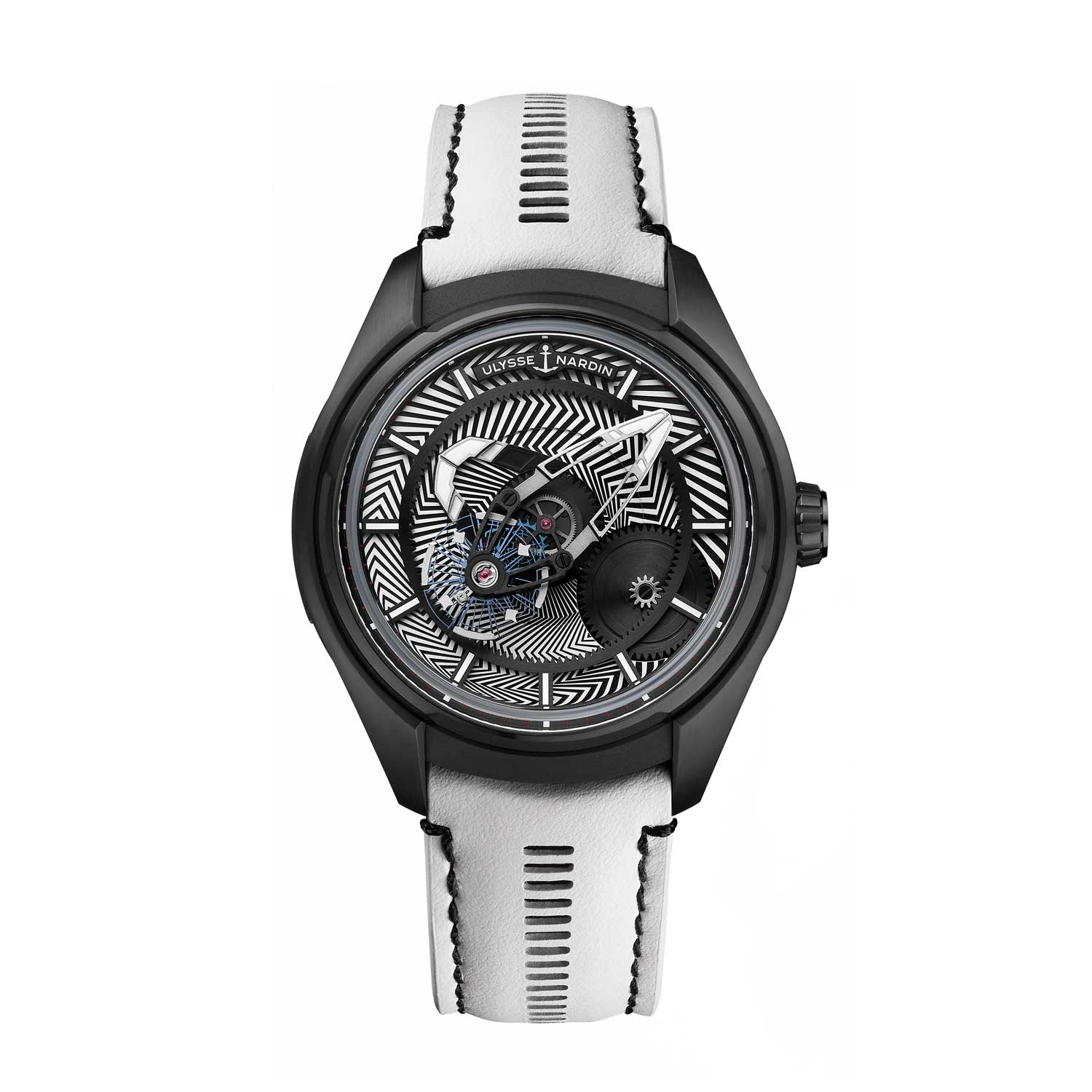 """Limited to 30 pieces, Ulysse Nardin's Freak X Razzle Dazzle features a black rubber leather strap with """"point de bride"""" stitches or white openwork calfskin leather strap."""