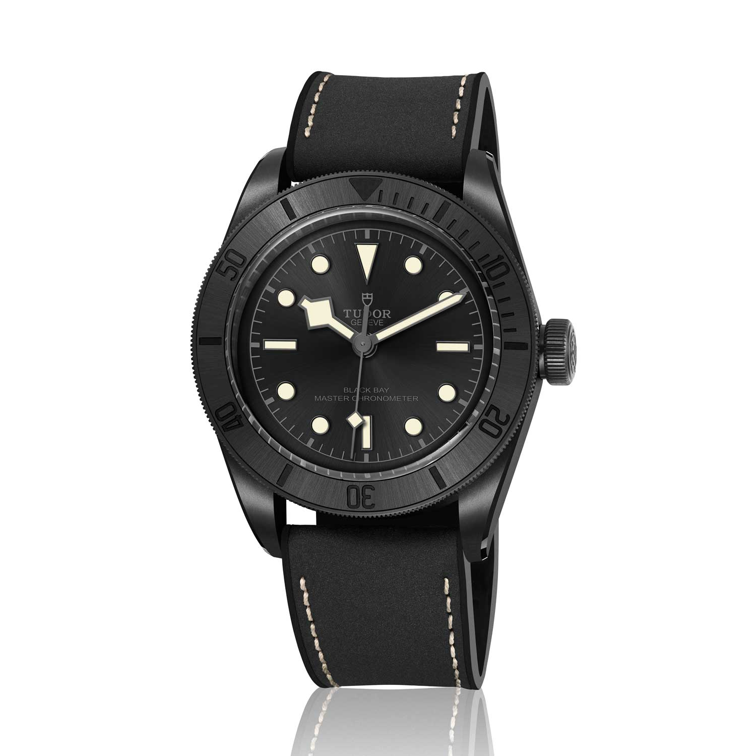 The new Tudor Black Bay Ceramic Master Chronometer comes on a hybrid strap that fuses leather and rubber for a durable yet elegant look.