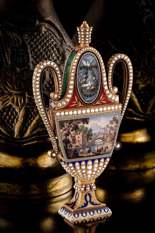 Musical Perfume Flask and Automaton Amphora-Form Watch