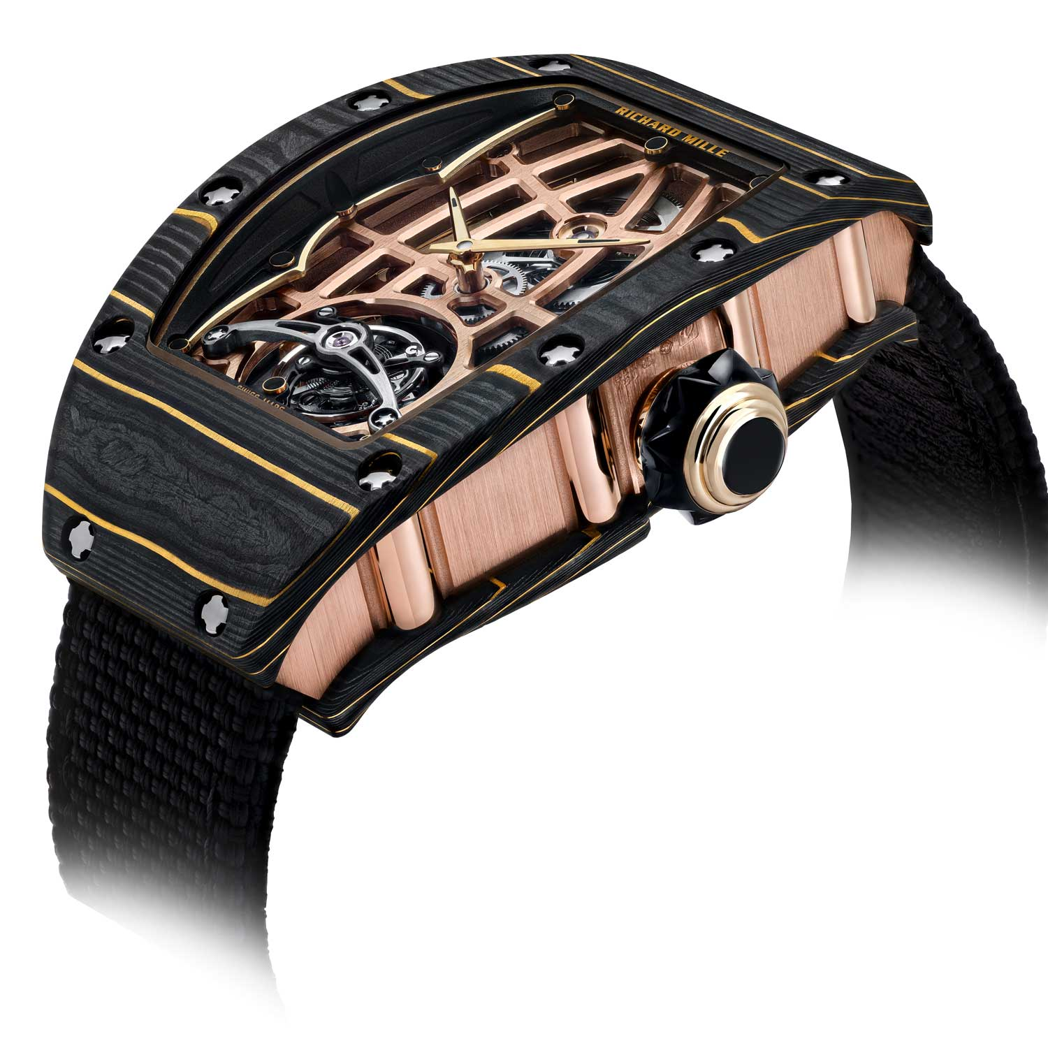 The case on the RM 74-02 combines 3N red gold and Gold Carbon TPT®