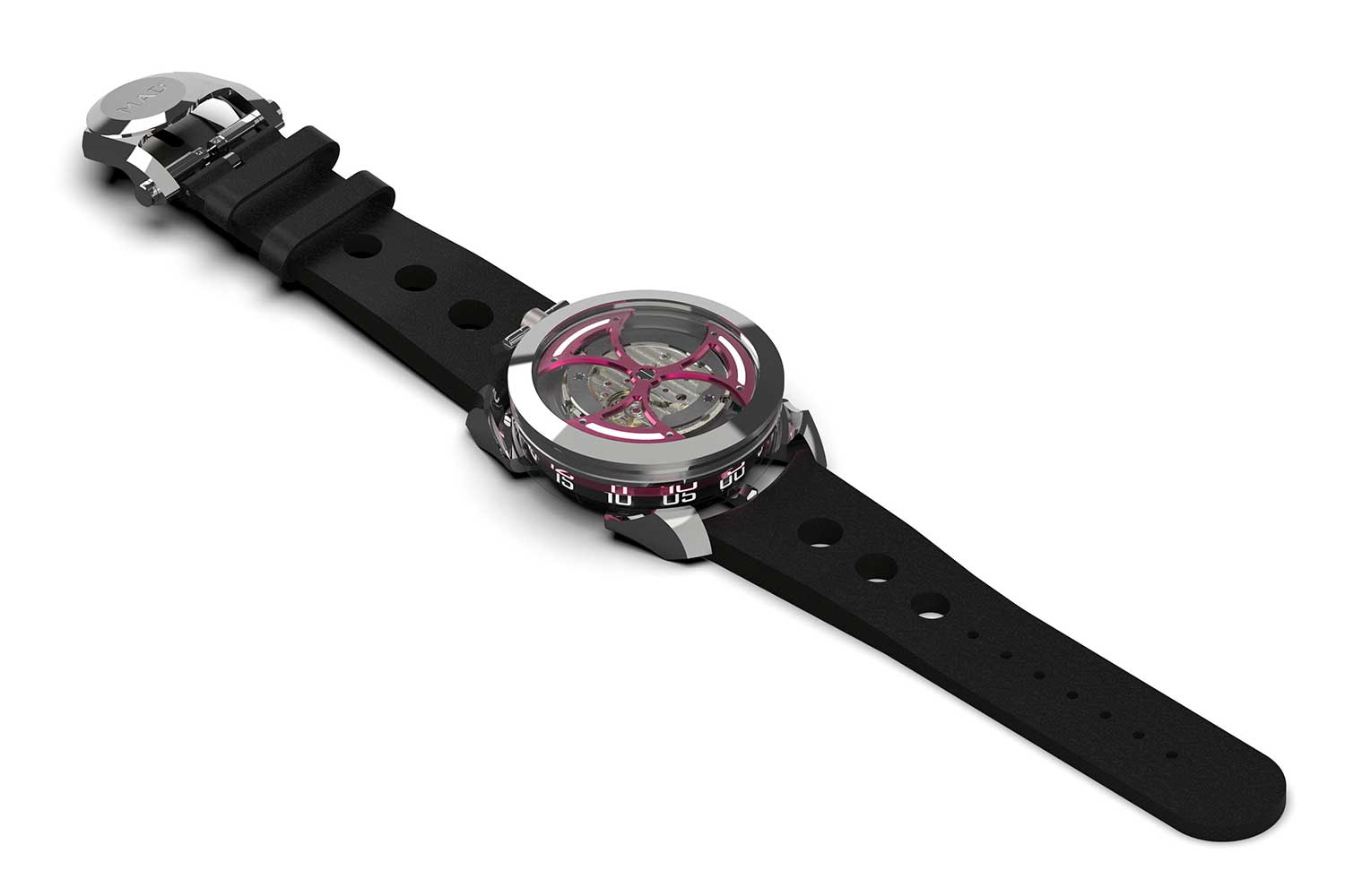 Pièce unique M.A.D.1 by Maximilian Büsser with pink rotor and hour ring