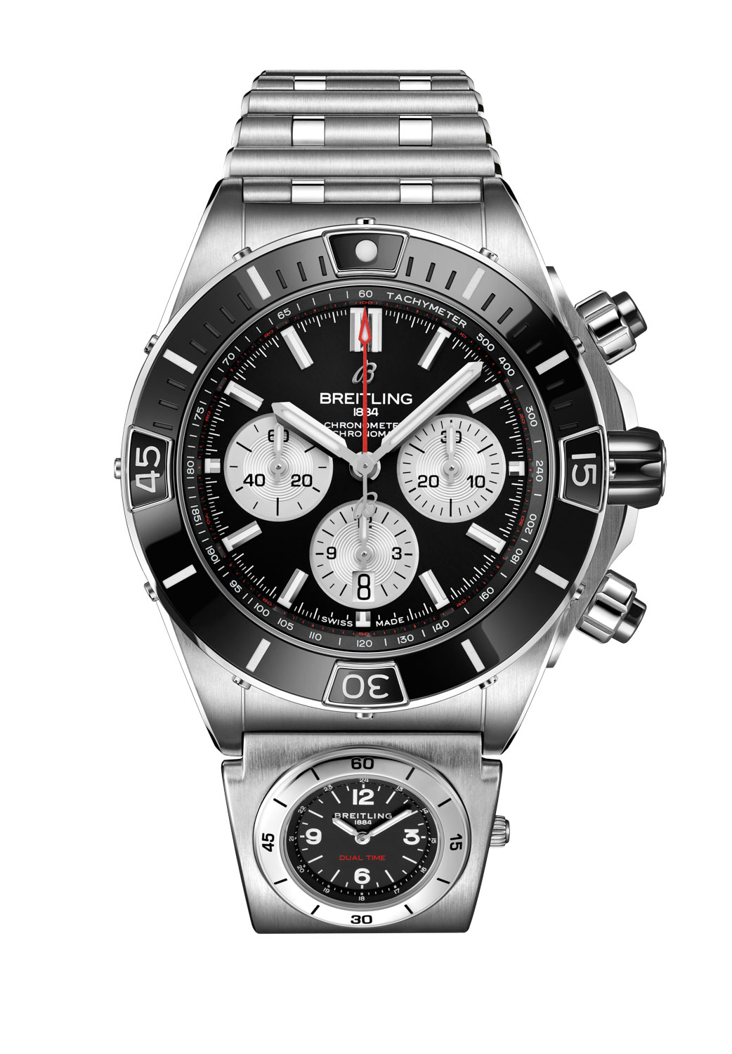 The Super Chronomat B01 44 in stainless steel fitted on a Rouleaux bracelet with UTC module and folding clasp