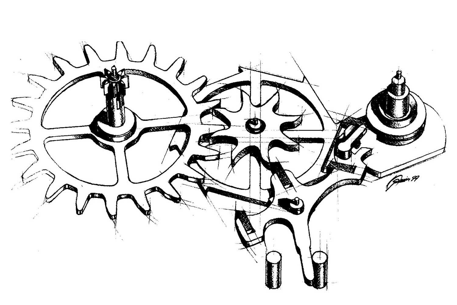 A drawing of the co-axial escapement