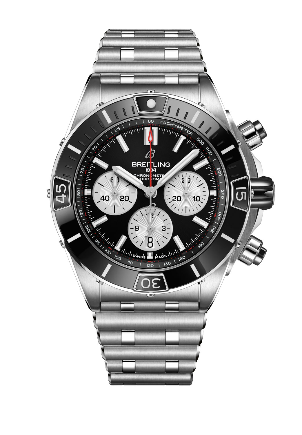 The Super Chronomat B01 44 in stainless steel fitted on a Rouleaux bracelet without the UTC module