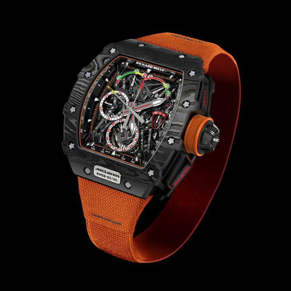 Introduced in 2016 to inaugurate Richard Mille's partnership with McLaren, the RM 50-03 is the world's lightest tourbillon split seconds chronograph with a movement featuring skeletonized carbon fiber bridges and plates.