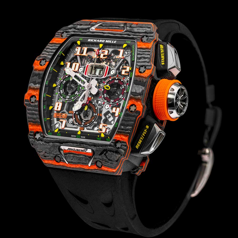 The RM 11-03 McLaren with a case in a combination of Carbon TPT and orange Quartz TPT made in 500 pieces.