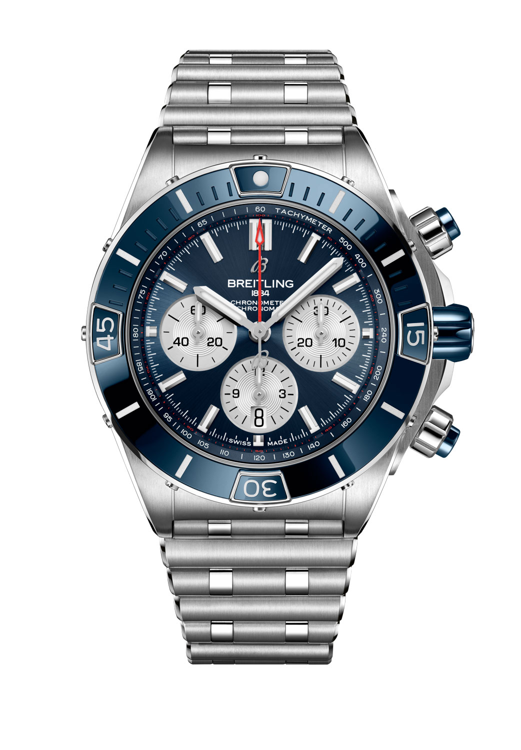 The Super Chronomat B01 44 in stainless steel with a blue dial fitted on a Rouleaux bracelet without the UTC module