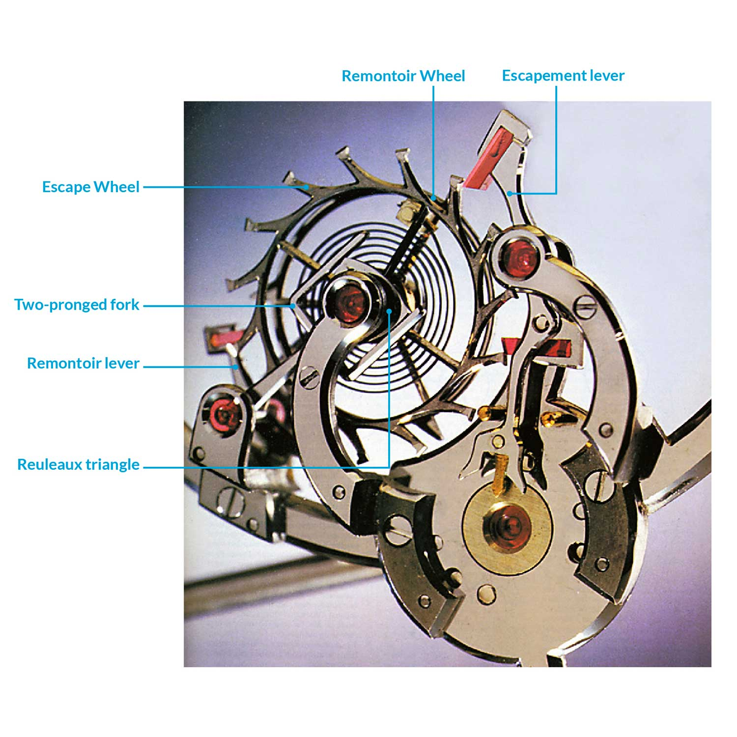 A close-up of the remontoir escapement controlled by a cam in the shape of a Reuleaux triangle