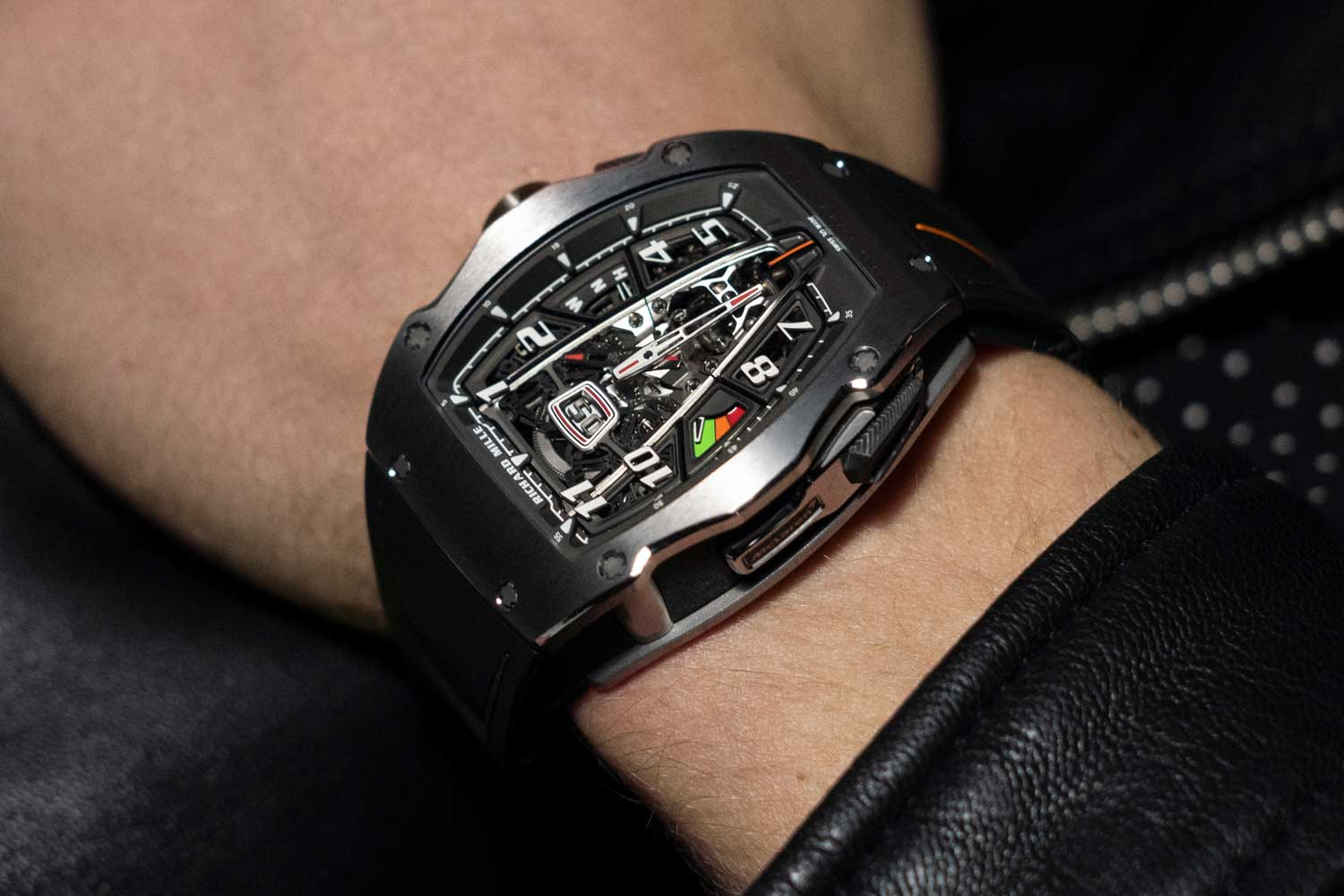 It took Richard Mille 2,800 hours spread over 18 months to develop the new case shape, for a watch that weighs 87.247 grams and is capable of withstanding shocks up to 5,000G.