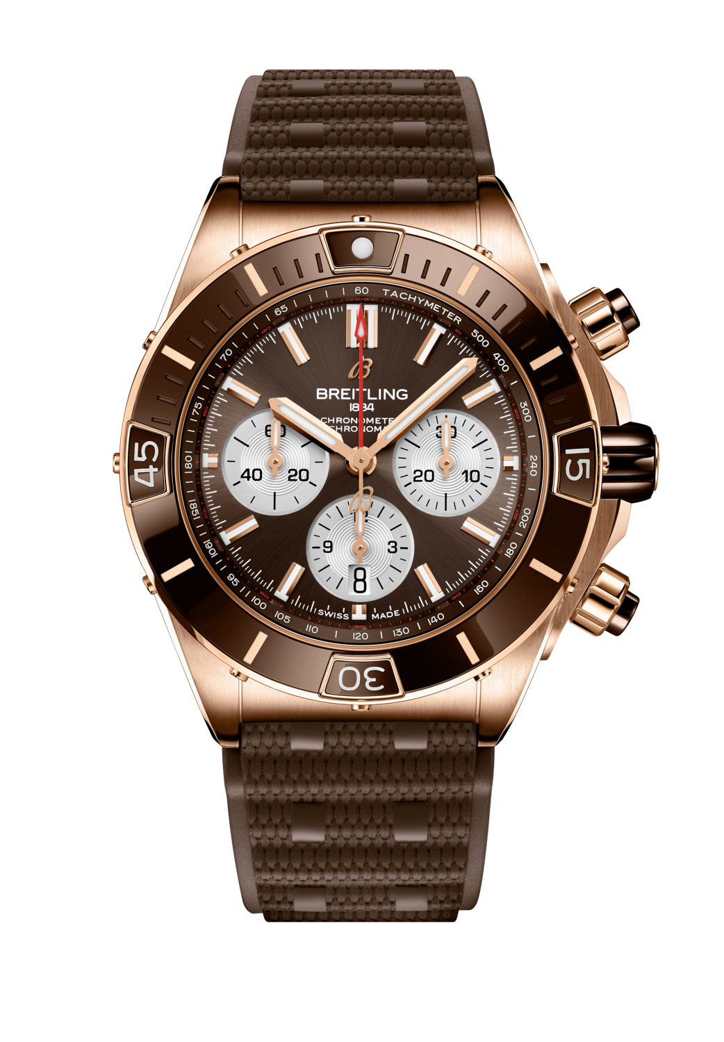 The Super Chronomat B01 44 in 18 k red gold, with brown dial and ceramic bezel insert fitted on a brown Rouleaux-inspired rubber strap with folding clasp