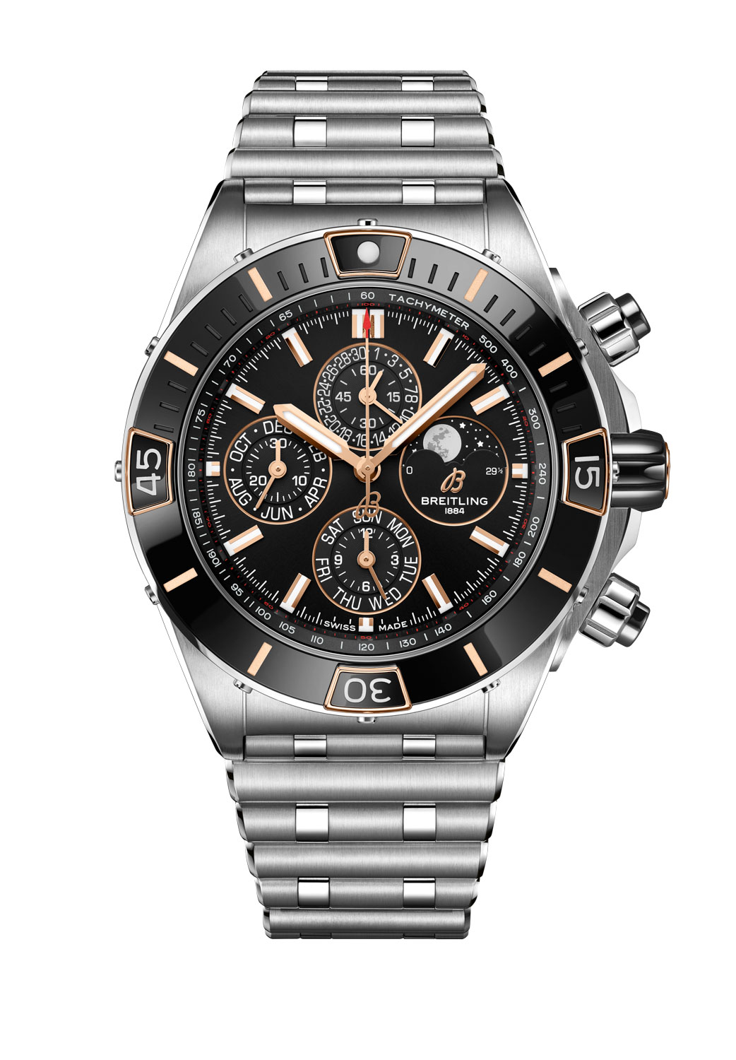 Super Chronomat 44 Four-Year Calendar fitted on a stainless-steel Rouleaux bracelet with butterfly clasp