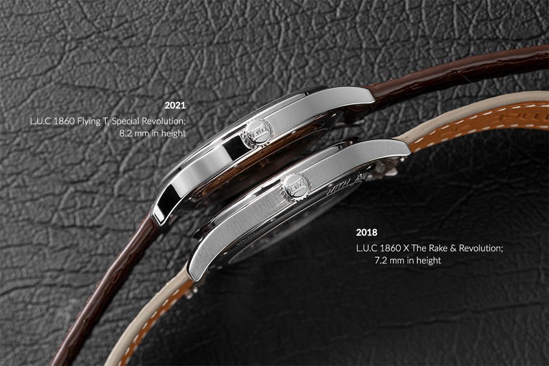 (LR) Vào năm 2018, ông Scheufele đã ban cho chúng tôi đặc ân để tạo ra Chopard LUC 1860 x The Rake & Revolution, phiên bản giới hạn gồm 10 chiếc có đường kính 36,5mm và chiều cao 7,2mm, một sự tôn kính trực tiếp đối với năm 1997 Chopard LUC 1860 nguyên bản được trang bị động cơ cỡ nòng 1,96;  vào năm 2021, câu chuyện tiếp tục với Chopard LUC 1860 Flying T, Special Revolution, giới hạn chỉ 5 chiếc, một lần nữa là sự tôn kính với LUC 1860 năm 1997, nhưng hiện được trang bị tourbillon 3,5 Hz trong vỏ có đường kính 36,5mm và thêm 1mm chiều cao 8,2mm, để chứa cơ quan điều chỉnh tourbillon (© Revolution)