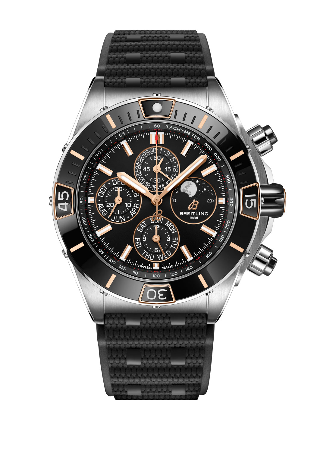 Super Chronomat 44 Four-Year Calendar fitted on a black Rouleaux-inspired rubber strap with folding clasp
