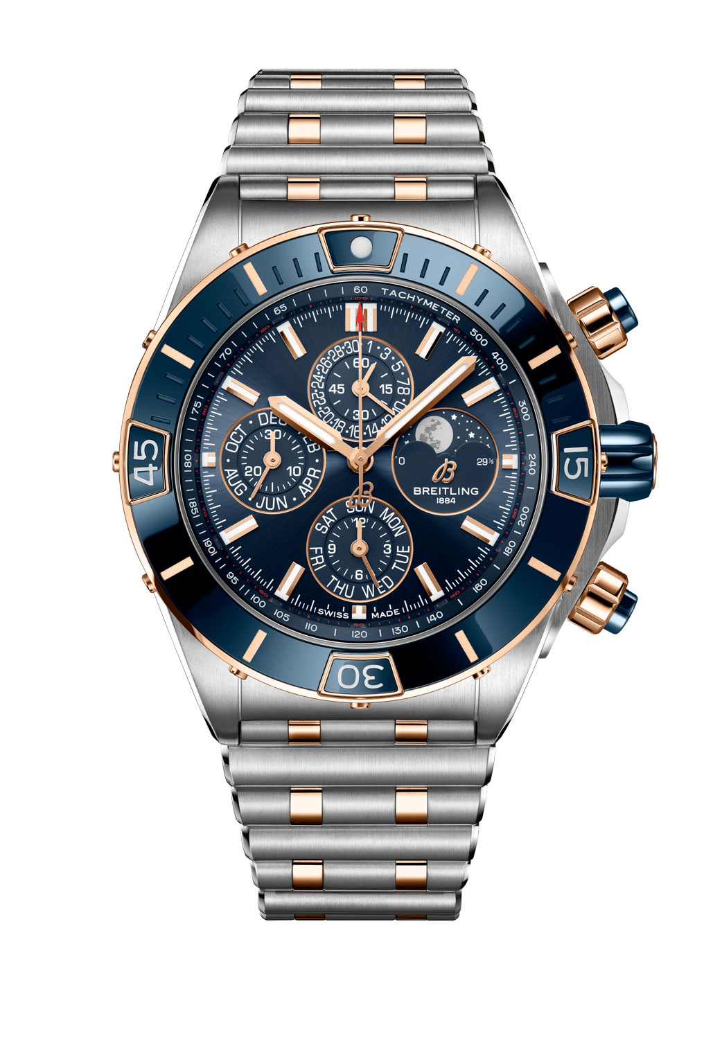 Super Chronomat 44 Four-Year Calendar with a blue dial fitted on a two-tone Rouleaux bracelet (stainless steel and 18 k red gold) with butterfly clasp
