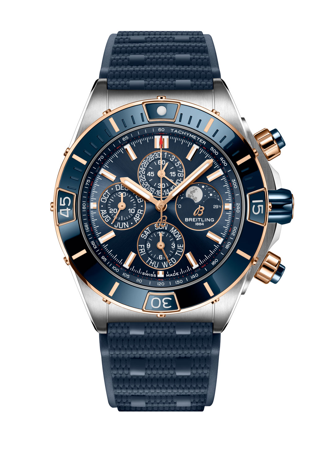 Super Chronomat 44 Four-Year Calendar with a blue dial fitted on a blue Rouleaux-inspired rubber strap with folding clasp