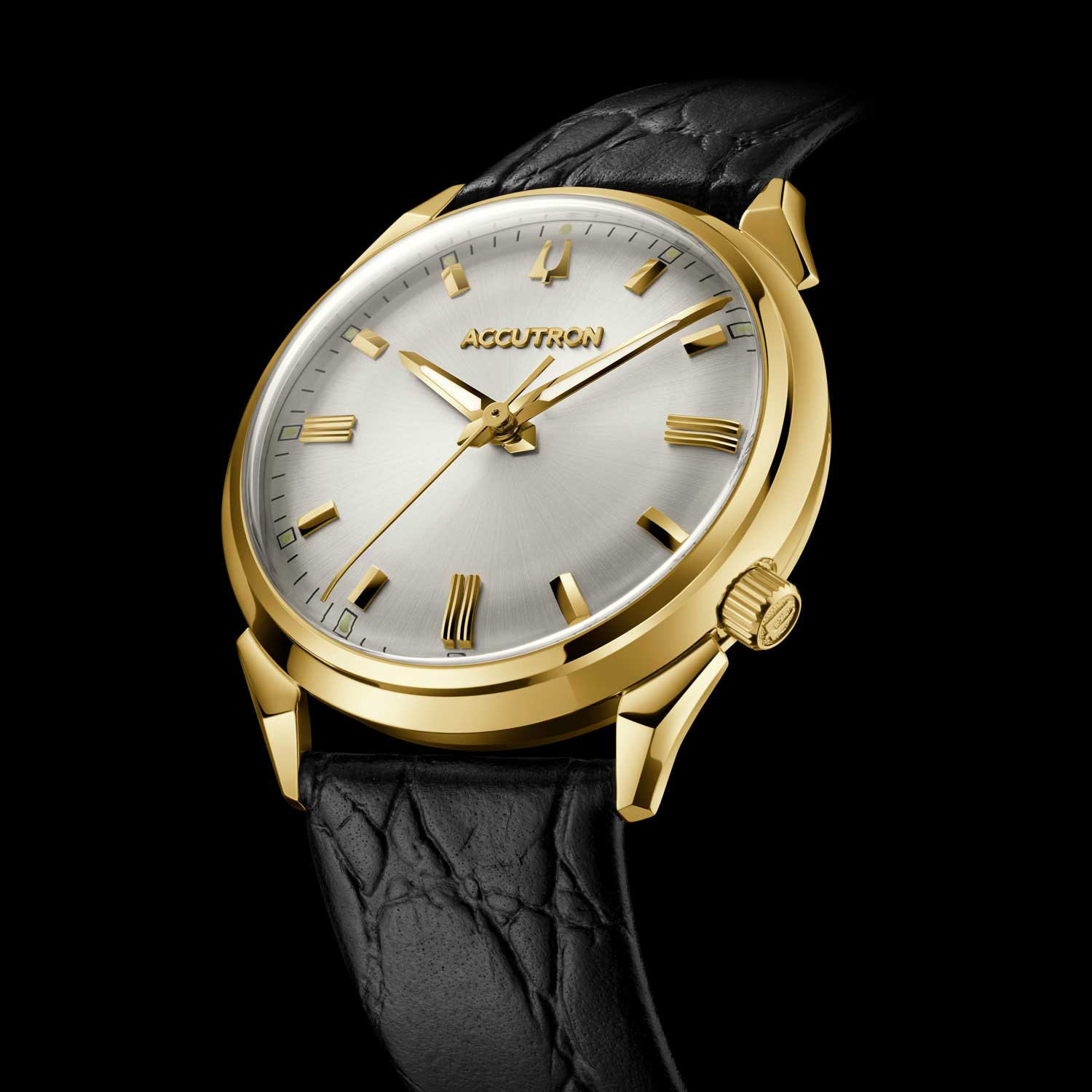 The new 412 is a 34mm gold-tone stainless steel round case watch with the same unique bull horn lugs and crown placement at 4 o'clock as the Accutron from the 1960s.