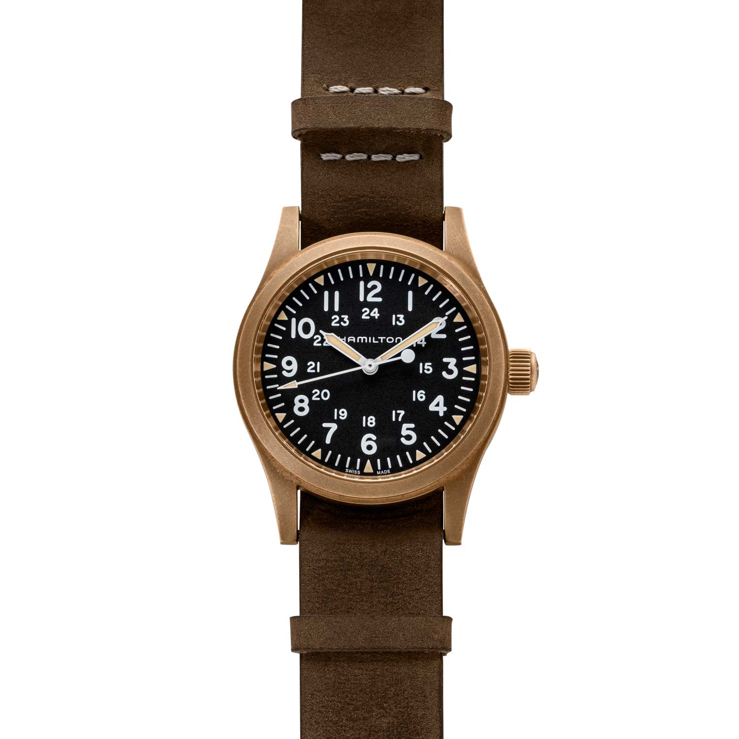 The Khaki Field Mechanical 38mm has a black dial with luminous triangles on the hour, both 12- and 24-hour time scales, and hash marks for the minutes. (©Revolution)