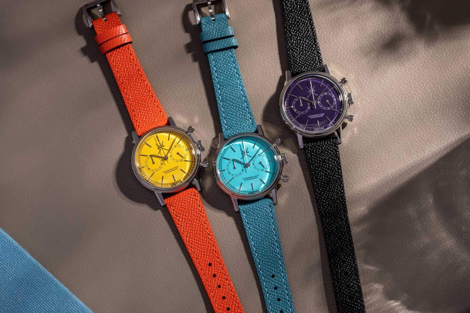 The new UNDONE Stellar is available in Tiff blue, yellow and purple, some of the most sought-after and rare colors in watches