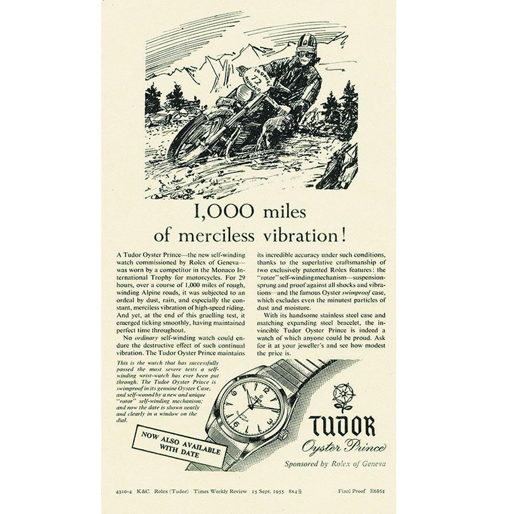 A print ad of the Tudor Oyster Prince from 1955.