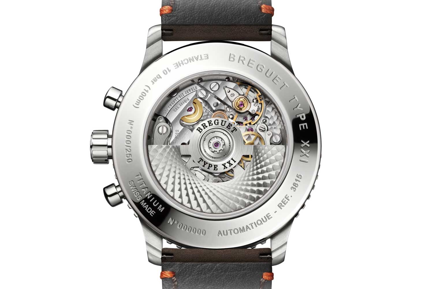 Breguet's cal. 584Q/2 features a flyback function for the chronograph's seconds hand and a silicon escapement.