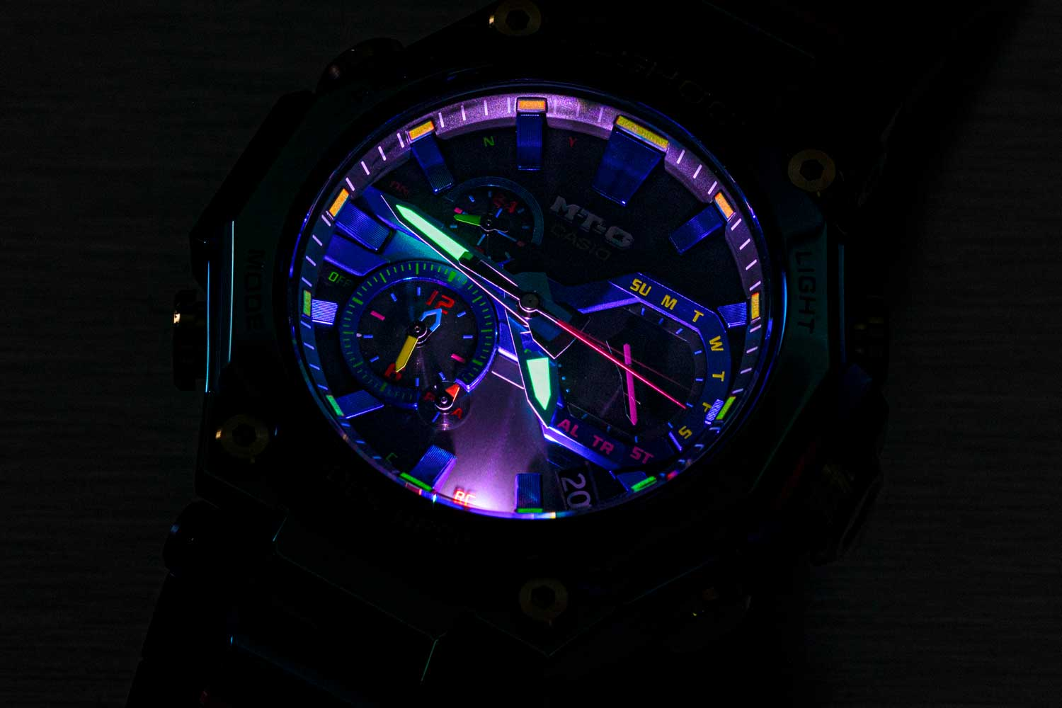 Each G-SHOCK MT-G Blue Phoenix will have its own unique color variation due to the plating process. (©Revolution)