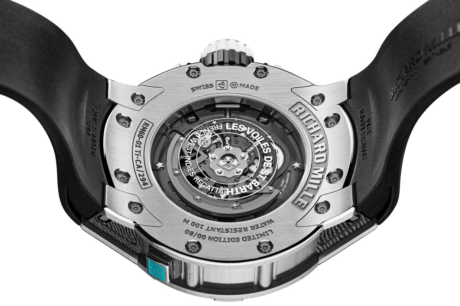 Powered by the automatic-winding caliber RMAC2, the RM 60-01 delivers a power reserve of 55 hours