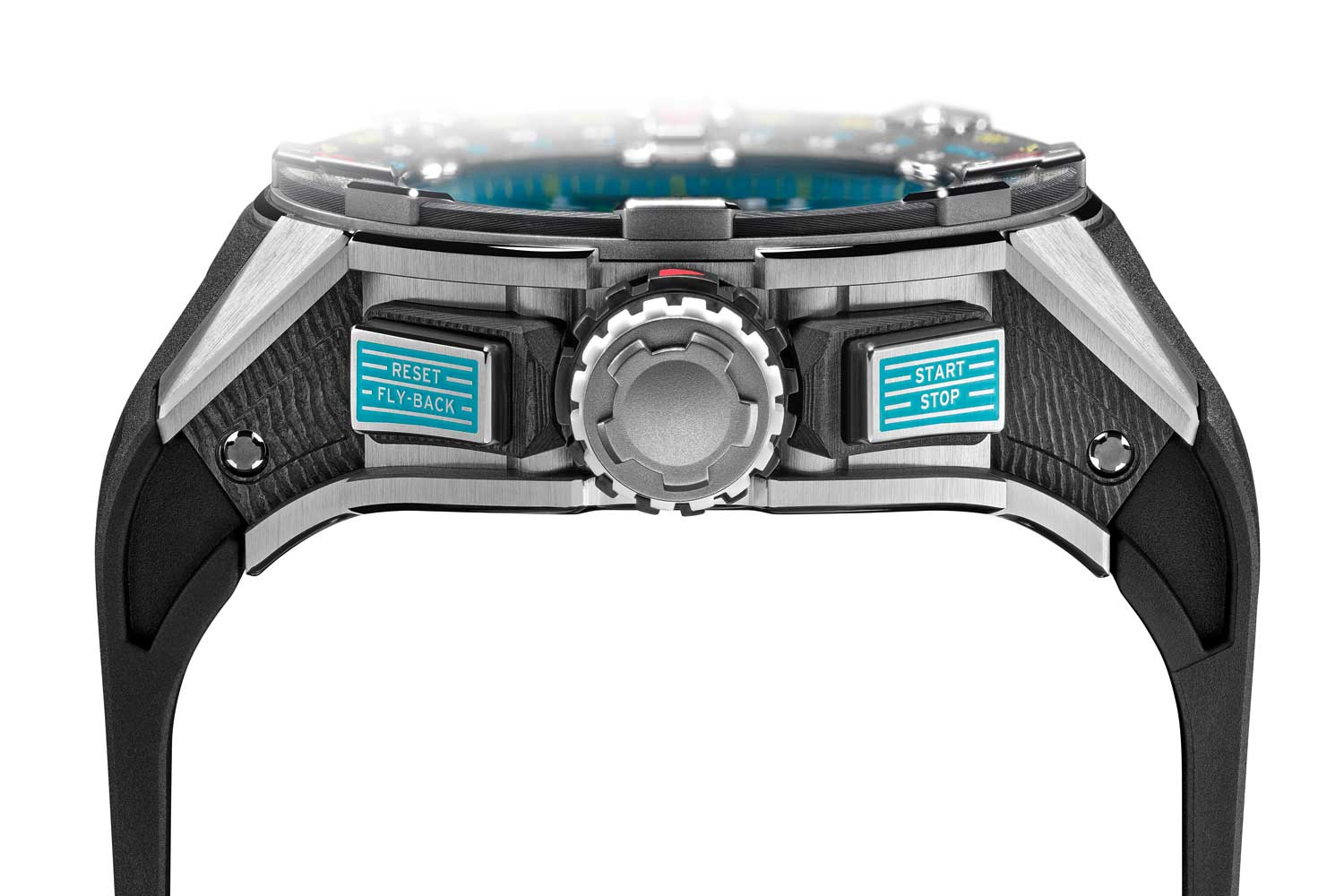 The watch has a 50mm titanium and carbon case