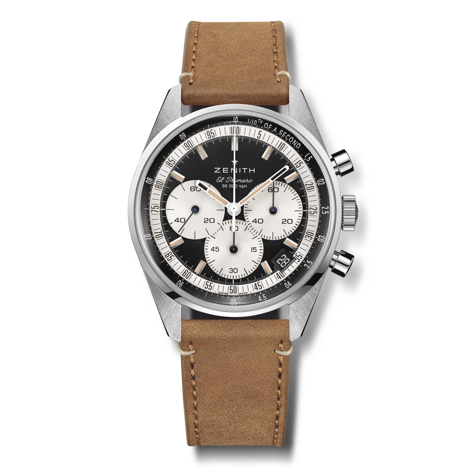 """The """"reverse panda"""" black dial with its sensitively done vintage-toned lume and thoroughly modern case is a truly impressive retro-modern chronograph."""