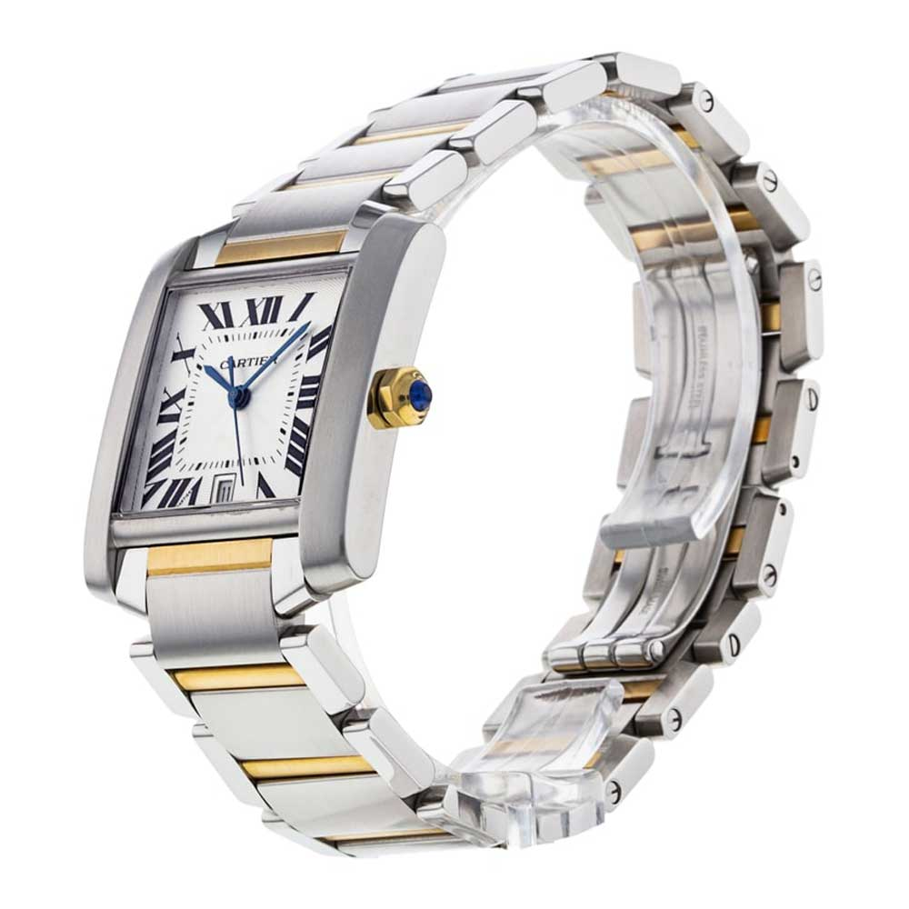 The present example of the Cartier Tank Francaise at our shop is a steel and yellow gold model from 2005.