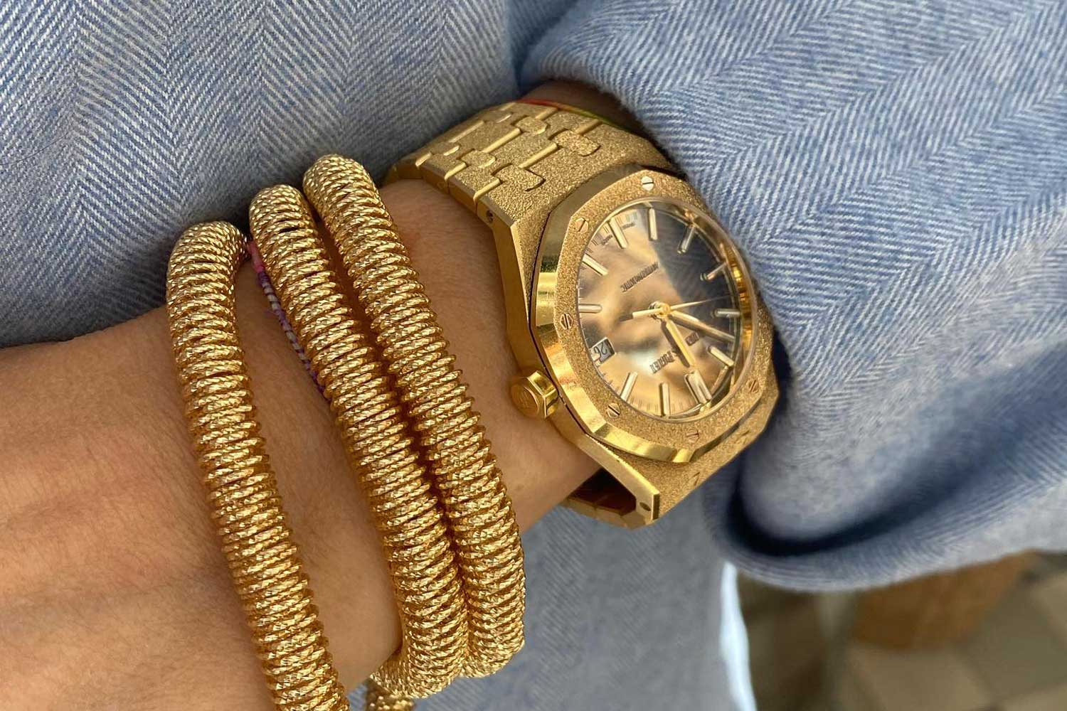 One of the modern watches that J.J. covets the most right now is the Audemars Piguet Royal Oak Frosted Gold Carolina Bucci Limited Edition