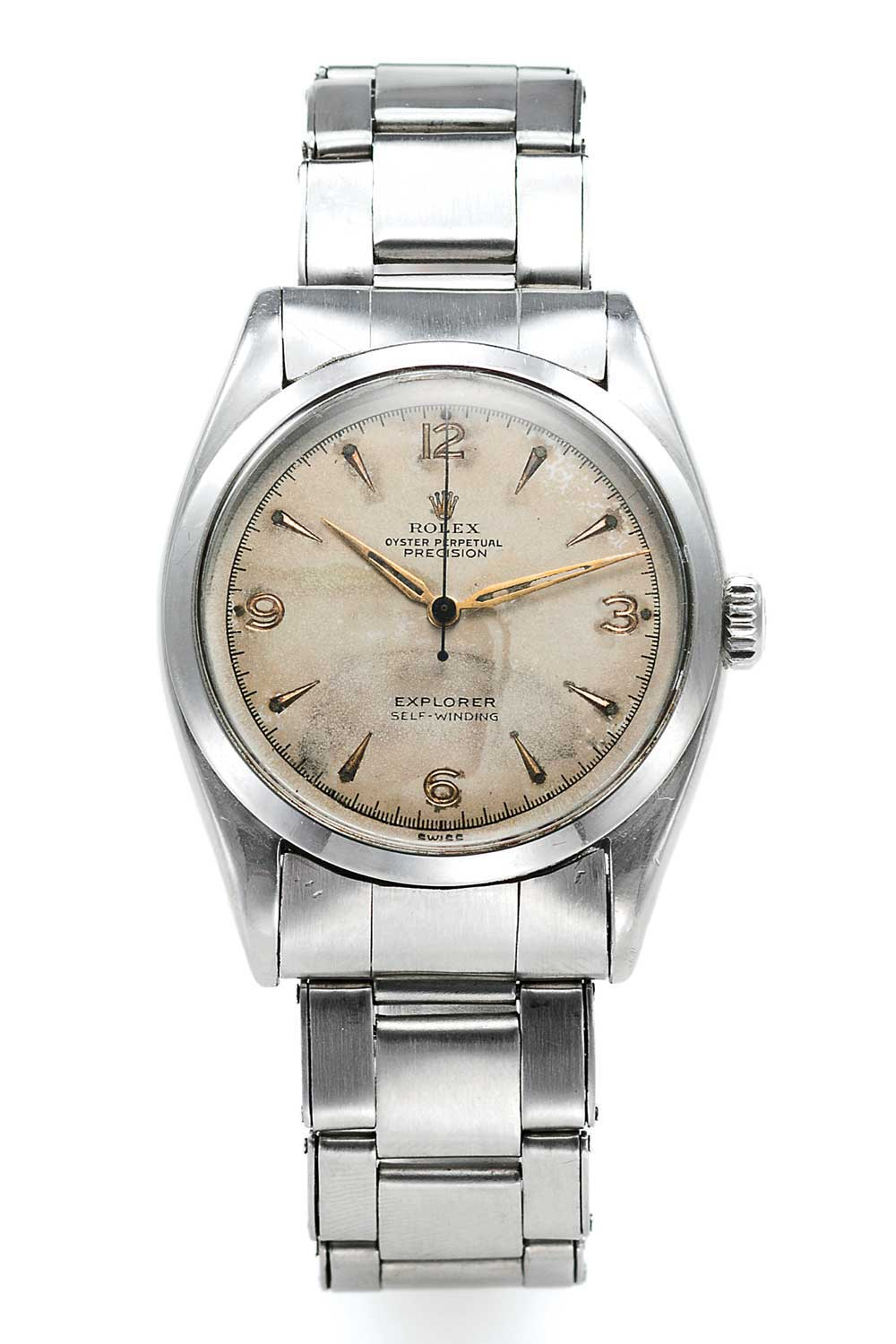 Rolex Explorer ref. 6298 with matte-silver dials. The model had the new improved 'brevet +' 6mm screw down crown.