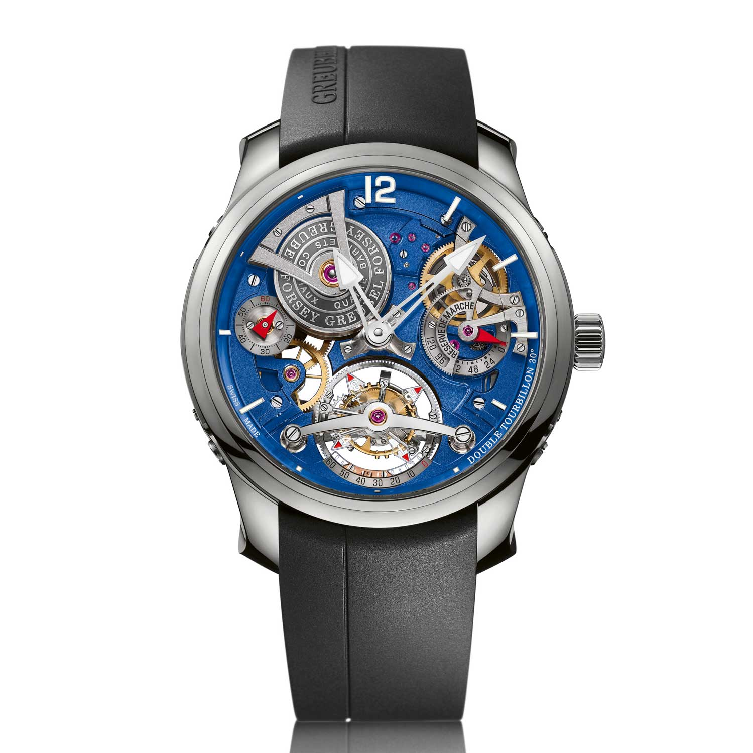 The Double Tourbillon 30° Technique with a four-minute outer cage and an inner cage that houses an inclined balance wheel