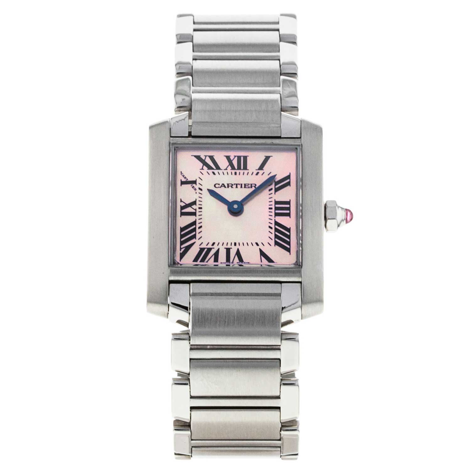 The pink mother of pearl dial adds a feminine air to this 20mm case.
