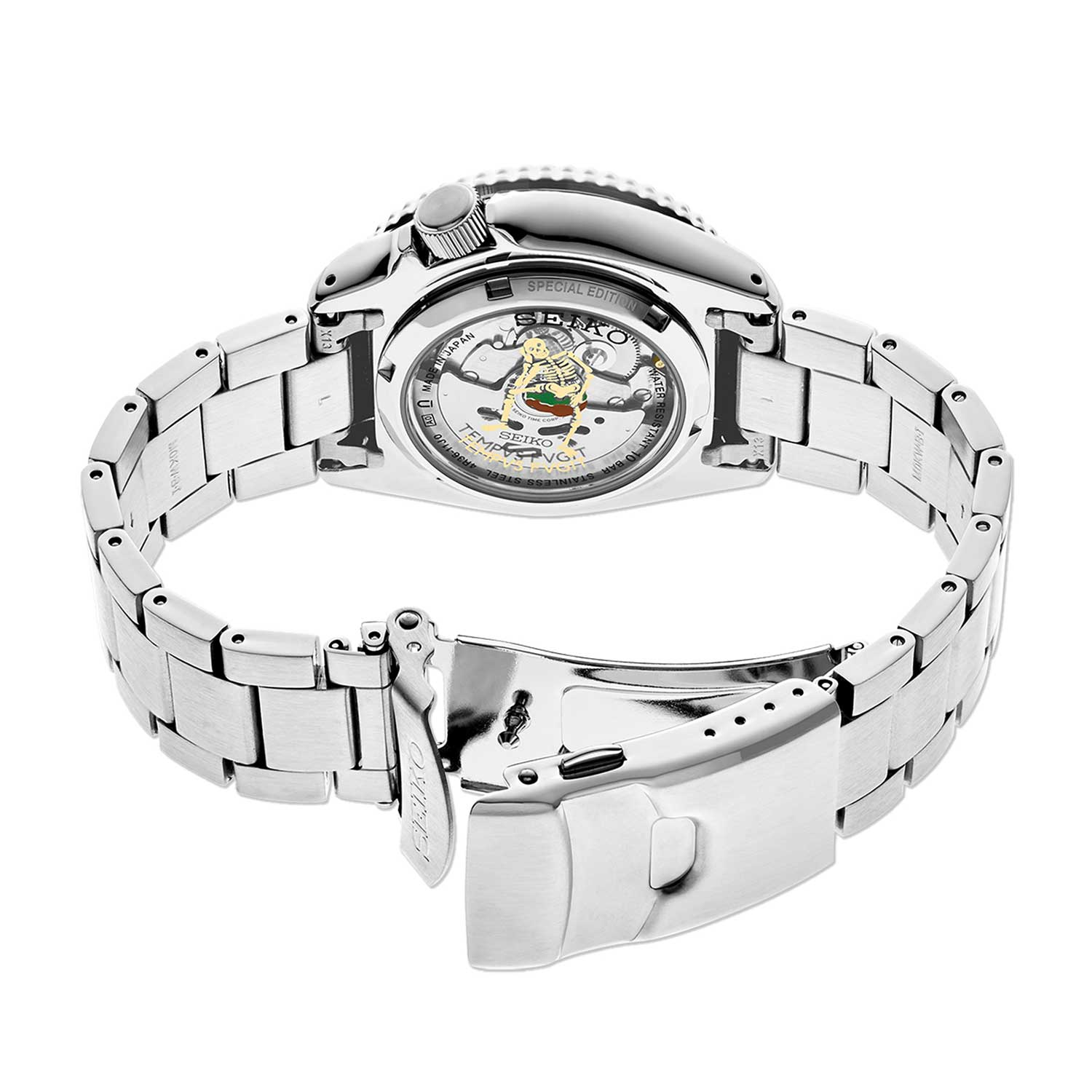 """The watch's caseback displays a laser engraved latin motto """"TEMPVS FVGIT"""" from the Latin poet Virgil."""
